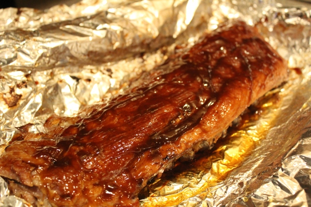 ribs_baste meat side with BBQ sauce