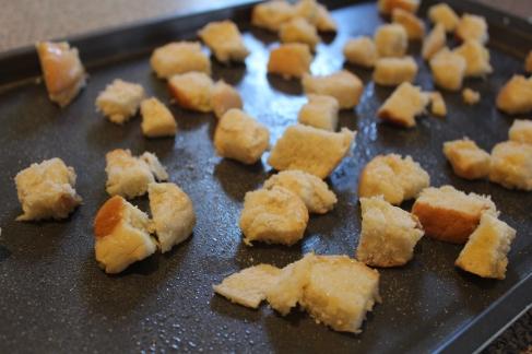 pepper jack soup_croutons on baking sheet