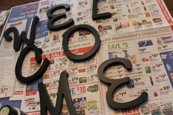 DIY welcome sign_before letters